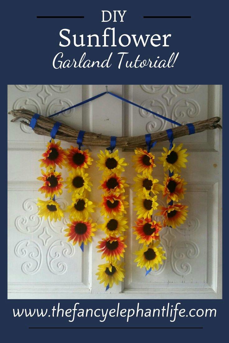 Diy Sunflower Garland Tutorial The Fancy Elephant Life